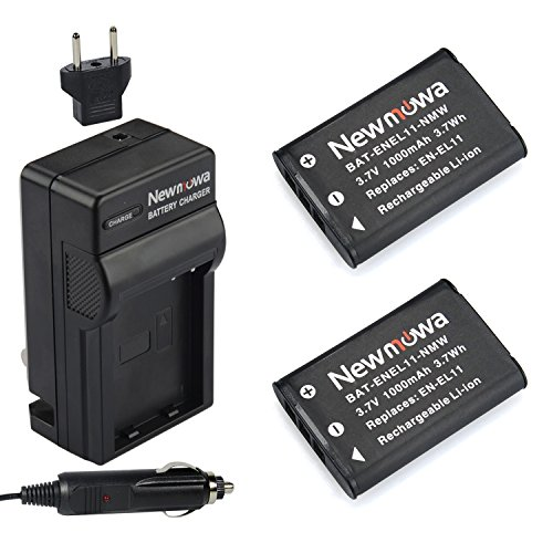 Newmowa EN-EL11 Replacement Battery (2-Pack) and Charger Kit for Nikon CoolPix s550/Pentax Optio M50/Ricoh Caplio R50/Olympus FE-370 Digital Camera