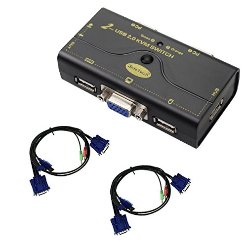 2 Port USB 2.0 VGA KVM Switch Up to 2048x1536 Resolution with USB Hub for PC or Monitor Switching
