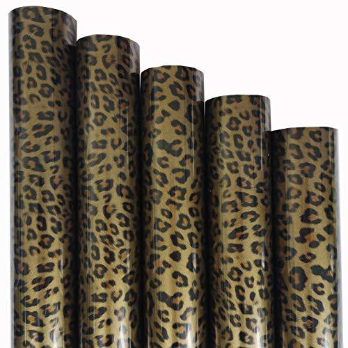 ZAIONE 5pcs/Set 11.8' x 9.8' Sheets Black Gold Leopard Pattern Heat Transfer Vinyl Wild Animal Print Iron-on HTV Craft Film Garment Clothing for T-Shirt Decoration DIY Craft Material
