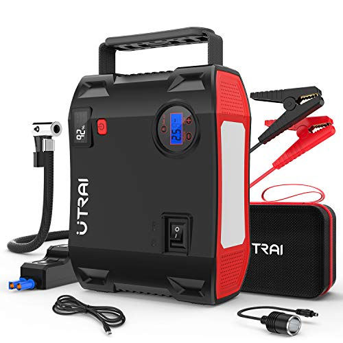 Portable Jump Starter with Air Compressor, UTRAI 150 PSI 2000A 24000mAh(8L Gas 6.5L Diesel Engine) 12V Battery Jump Pack with Emergency Light LCD Screen USB Quick Charge for Cars, Trucks, SUV