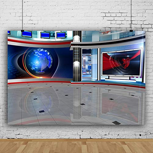 Yeele 10x8ft Blue News TV Studio Backdrop for Video Conference TV Room Interior Screen Media Broadcast Monitor Photography Backdrop Online Teaching Vertual Learning Photoshoot Studio Props