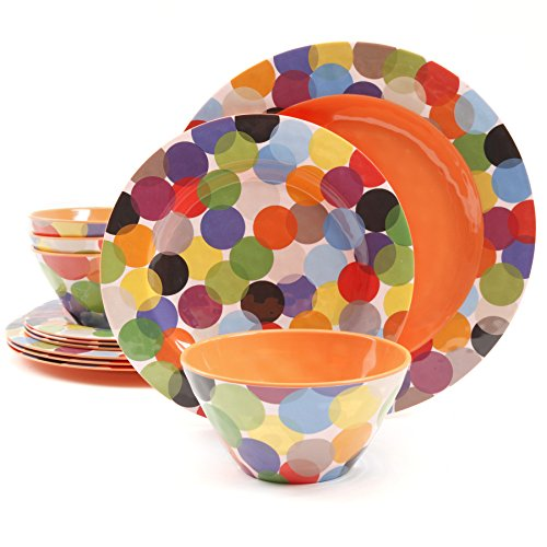 Gibson Studio COMINHKG093699 Line by Laurie Gates Party 12 Piece Melamine Dinnerware, Rainbow Circles (Pack of 12)