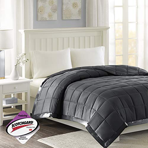 Madison Park Windom Microfiber Down Alternative Stain Resistant Blanket, Full/Queen, Charcoal