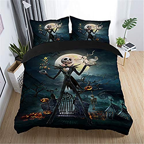 NOOS Nightmare Before Christmas Bedding Set 3D Skull Duvet Cover Set Queen Size, Soft 100% Microfiber Bed Set 3PCS, 1 Duvet Cover, 2 Pillowcase, No Comforter