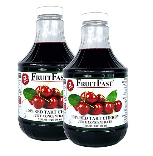 100% Pure Red Tart Cherry Juice Concentrate by FruitFast | Unsweetend, Non-GMO, Gluten Free, Kosher Certified Dark Cherry Extract - Promotes Joint Health and Helps Maintains Sleep Cycles (64 Ounce)