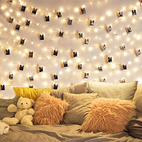 Photo Clip String Lights - 33Ft 100 LED Fairy String Lights with 50 Clear Clips for Hanging Pictures,LED Photo Clip String Light for - Perfect Dorm Bedroom Ideal Gift Photo Clip Holder