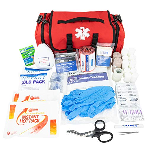 LINE2design Emergency Fire First Responder Kit - Fully Stocked EMS Supplies First Aid Rescue Trauma Bag - EMS EMT Paramedic Complete Lifeguard Medical Supplies for Natural Disasters - Red