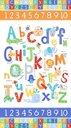 Northcott Alphabet Soup Animal ABCs 43in Panel White Fabric