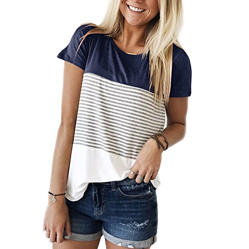 YunJey short sleeve round neck triple color block stripe T-shirt casual blouse,Navy,XX-Large
