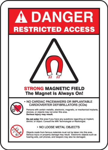Accuform MRAD140VA Aluminum Safety Sign, Legend 'DANGER RESTRICTED ACCESS STRONG MAGNETIC FIELD THE MAGNET IS ALWAYS ON! -NO CARDIAC PACEMAKERS OR IMPLANTABLE CARDIOVERTER DEFIBRILLATORS (ICDs) -NO LOOSE METAL OBJECTS' with Graphic, 14' Length x 10' Width, Red/Black on White