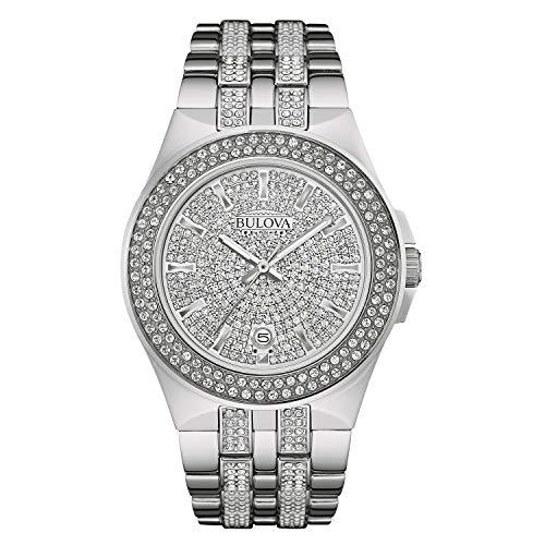 Bulova Crystal Quartz Mens Watch, Stainless Steel , Silver-Tone (Model: 96B235)