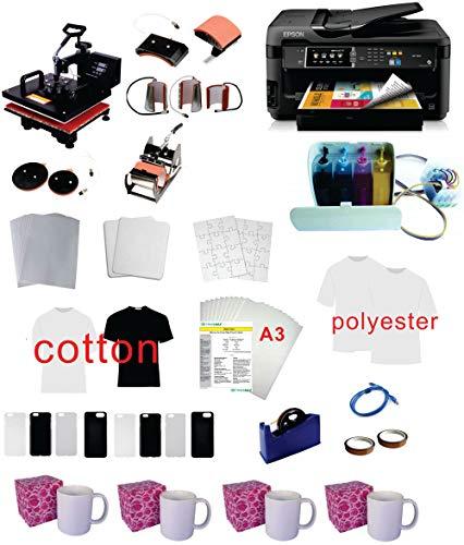 Pro Sublimation 15'x15' 8in1 Heat Press WF-7710(7720) 11'x17' Printer CISS kit