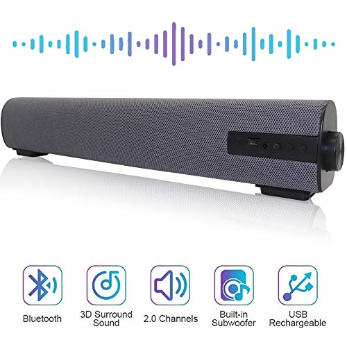 Soundbar Wired and Wireless Bluetooth Home Theater TV Stereo Speaker with Remote Control 2 X 5W Compact Sound Bar with Built-in Subwoofers for TV/PC/Phones/Tablets-Gray