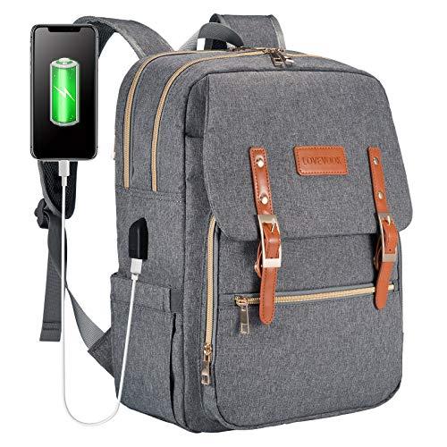 Laptop Backpack for Women Men 15.6 inch Teacher Backpack Computer Bag Water-Resistant Travel Work Bag with USB Charging Port(Grey)