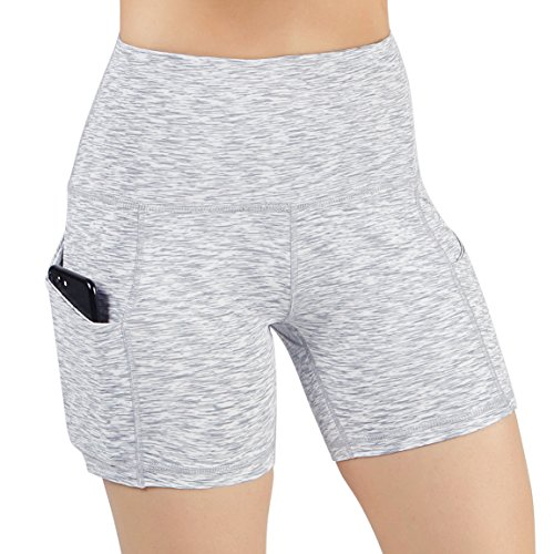 ODODOS High Waist Out Pocket Yoga Short Tummy Control Workout Running Athletic Non See-Through Yoga Shorts,SpaceDyeWhite,Medium