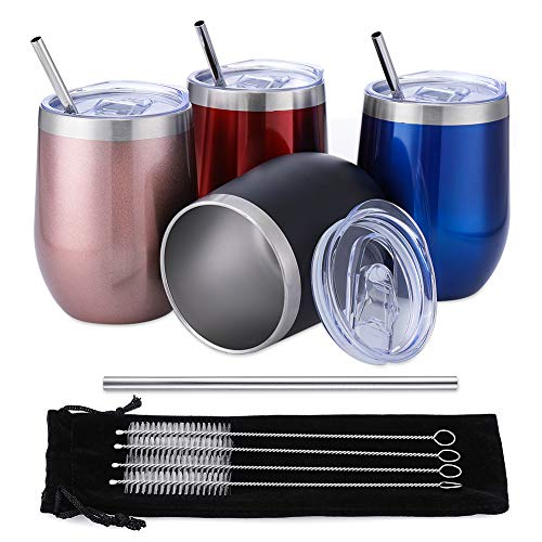 Comfook 4 Pack 12OZ Stainless Steel Wine Glass Tumbler Set with Lids, Stemless Vacuum Insulated Wine Glasses with Straws Brushs and Spill Proof Lid for Parties, Bars,Home, Work, Travel, Fashion,Light