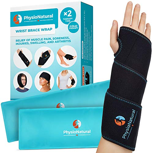 Wrist Ice Pack Wrap - Cold Therapy for Instant Pain Relief and Treatment of Carpal Tunnel, Tendonitis, Injuries, Swelling, Rheumatoid Arthritis, Sprains - Hand Support Brace with Reusable Gel Packs