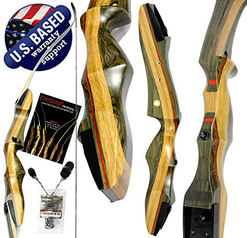 Spyder XL Takedown Recurve Bow and Arrow Set 64' Recurve Hunting Bow Right & Left Hand Draw Weights in 30-55 lbs USA Based Company Perfect for Beginner to Intermediate SpyderXL-40R-WS
