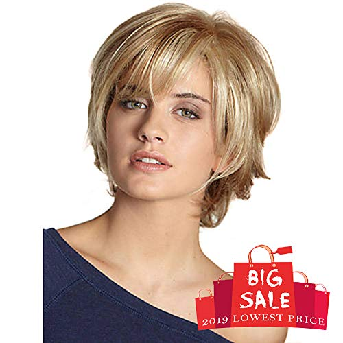 BLONDE UNICORN Natural Human Hair Wig Short Wigs with side part bangs for Women Daily Use(30/613#)
