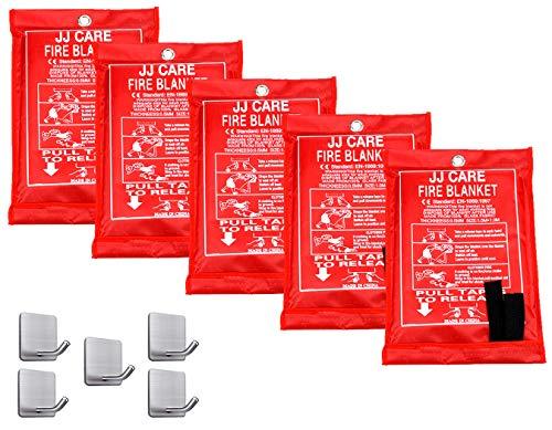 JJ CARE Fire Blanket Fire Suppression Blanket 40'x40' +5 Hooks, Fire Blanket Kitchen, Fire Emergency Blanket, Fire Retardant Blankets, Fiberglass, Fire Safety Blanket for Camping-Kitchen-Car Emergency