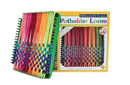 Harrisville Designs Potholder 7' Traditional Size Potholder Loom Kit with Cotton Loops Make 2 Potholders, Weaving Crafts for Kids & Adults-Multi