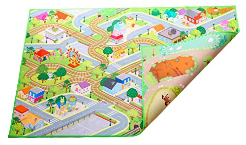 Kids Double Sided Felt Play Mat - 2 in 1 Indoor/Outdoor, Machine Washable 59' L x 39' W… Save to Droplist Roll Over Image to Zoom in Kids Double Sided Felt Play Mat - (City/Farm)