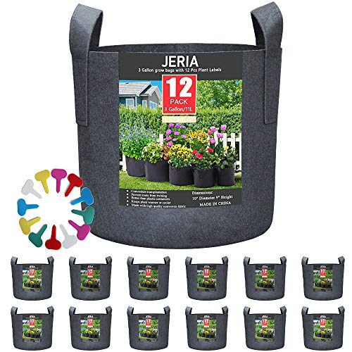 JERIA 12-Pack 3 Gallon, Vegetable/Flower/Plant Grow Bags, Aeration Fabric Pots with Handles (Black) ,Come with 12 Pcs Plant Labels