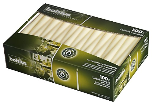 BOLSIUS Long Household Ivory Taper Candles - 10-inch Unscented Premium Quality Wax - 7.5 Hour Long Burning Dripless Candles Bulk Pack of 100 for Home Decor, Wedding, Parties and Special Occasions