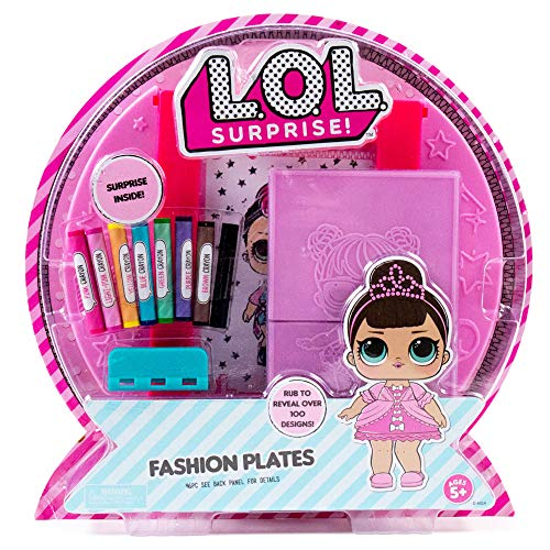 L.O.L. Surprise! Fashion Plates by Horizon Group USA,DIY Fashion Design Activity Kit, Make Over 100 Designs, 14 Fashion Plates, 20 Sheets of Paper, 1 Scratch Art Sheet, 7 Crayons Included, Multicolor