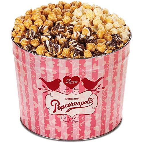 Popcornopolis Gourmet Popcorn 2 Gallon Love Tin - Featuring Caramel, Zebra and Kettle Corn