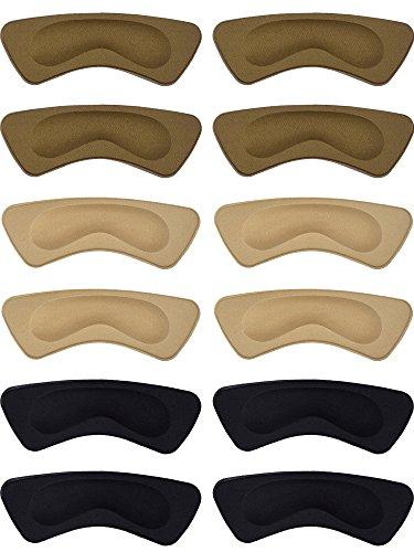Hotop 6 Pairs Heel Cushion Pads Heel Shoe Grips Liner Self-Adhesive Shoe Insoles Foot Care Protector (Brown, Khaki, Black)