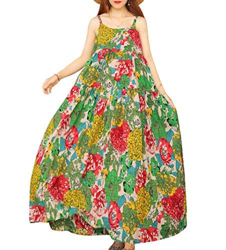 YESNO Women Casual Loose Bohemian Floral Print Dresses Empire Waist Spaghetti Strap Long Maxi Summer Beach Swing Dress XS-5X E75 (2XL, As Picture10-Multi-Colored)