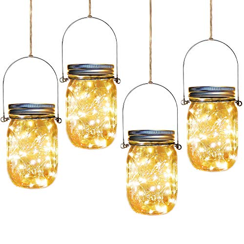 Solar Mason Jar Lights,4 Pack 30 Led Starry Fairy String Hanging Jar Lights,Solar Lanterns for Outdoor Patio Party Garden Wedding Christmas Decorations Lights(Mason Jars/Handles Included)
