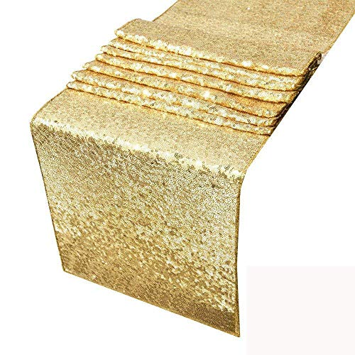 HOSL Pack of 6 Gold Yellow Glitter Sequin Table Runners 12 x 108 Inches For Wedding Banquet Party Decoration (Color may vary a little with diferent monitor)