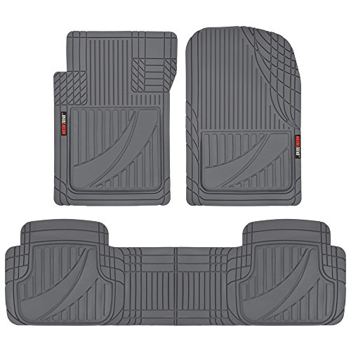 Motor Trend OF-793-GR Gray FlexTough Advanced Performance Mats - 3pc Rubber Floor Mats for Car SUV Auto All Weather Plus - 2 Front & Rear Liner (Gray), 1 Pack