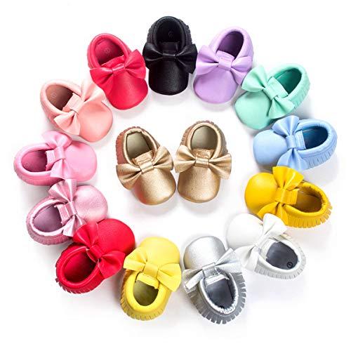 BENHERO Newborn Baby Boys Girls Soft Soled TasselBowknots Crib Infant Toddler Prewalker Moccasins Shoes(12cm, 6-12 Months Infant, 5107/Watermelon red