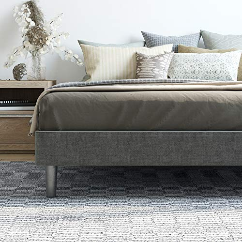 Claridge Upholstered Mattress Foundation | Platform Bed | Metal Frame with Wood Slat Support | Grey, King