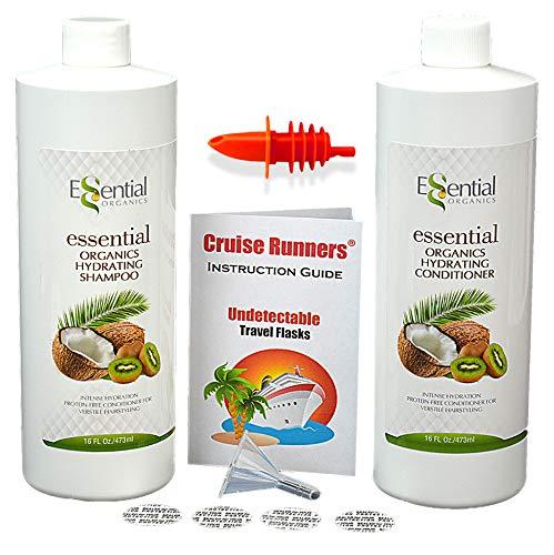 CRUISE RUNNERS Fake Shampoo & Conditioner Flask Bottles Hidden Liquor Smuggle Alcohol Plastic Kit For Booze Cruises Enjoy Rum Runners