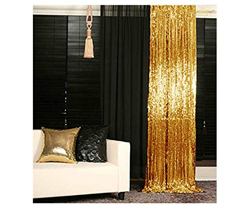 ShinyBeauty Sparkle Backdrop Curtain Gold 2 Panels Set Sequin Photo Backdrop 2FTx8FT Sequin Backdrop Curtain Pack of 2-1220S
