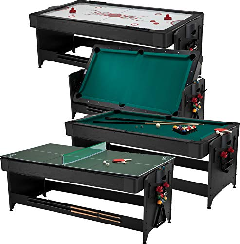 Fat Cat Original 3-in-1 Green 7' Pockey Multi-Game Table - Air Hockey, Billiards and Table Tennis - Green