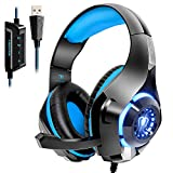 Beexcellent USB Gaming Headset for PC, 7.1 Surround Sound Computer Gaming Headphones, PC Headset with Noise Canceling Mic Volume Control LED Light for PC Mac Laptop
