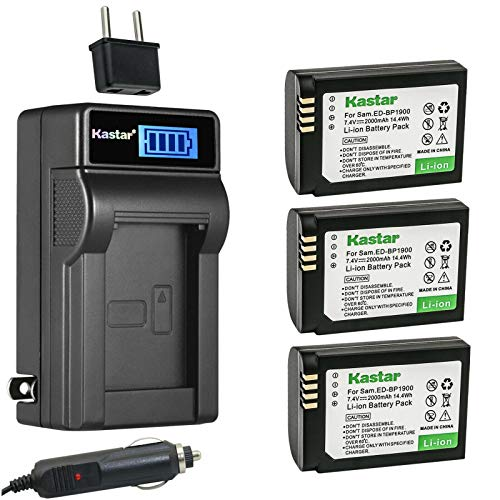 Kastar 3-Pack Battery and LCD AC Charger Compatible with Samsung ED-BP1900 EDBP1900 ED-BP1900/US, BP-1900 BP1900 Battery, Samsung ED-BC4NX03, ED-BC4NX03/US Charger, Samsung NX1 Digital Camera