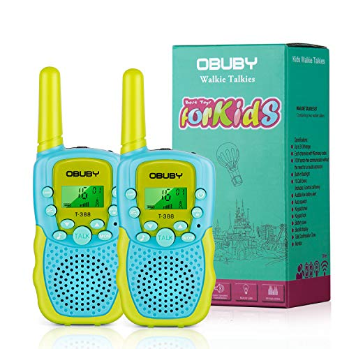 Obuby Walkie Talkies for Kids, 22 Channels 2 Way Radio Kid Toy Gift 3 KMs Long Range with Backlit LCD Flashlight Best Gifts Toys for Boys and Girls to Outside Adventure (Blue & Green)