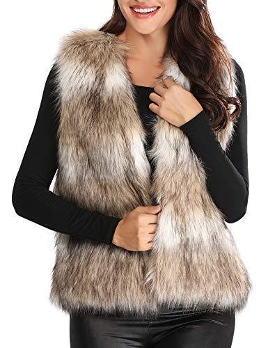 Caracilia Womens Ladies Fashion Autumn and Winter Warm Short Faux Fur Vests Outwear Jacket sansemao L CAFB1