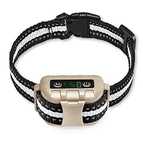 Bark Collar No Bark Collar Rechargeable Anti bark Collar with Adjustable Sensitivity and Intensity Beep Vibration and No Harm Shock Bark Collar for Small Medium Large Dogs