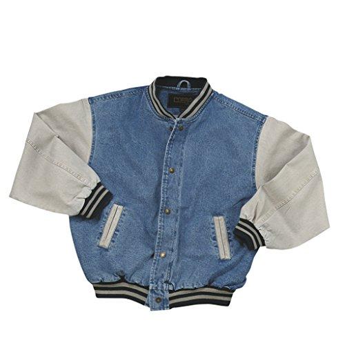 Cotton-Washed Vintage Denim Varsity Jacket with Khaki Sleeves (Large)