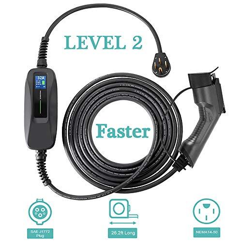 Morec 32 Amp EV Charger Level 2, NEMA14-50 26ft 220V-240V Upgraded Portable EV Charging Cable Station, Electric Vehicle Charger Compatible with All EV Cars.