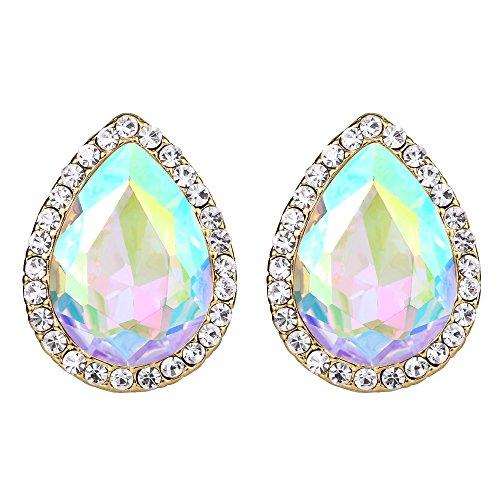 EVER FAITH Women's Austrian Crystal Wedding Teardrop Stud Earrings Iridescent Clear AB Gold-Tone