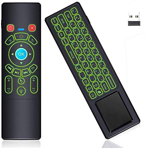 RGB Backlit Gyro Air Remote Fly Mouse Mini Keyboard with Touchpad, 2.4GHz Wireless Mini Keypad Gyroscope Remote Control for Android TV Box,Windows PC,Laptop,Mac Mini PC,KD Box,HTPC,Raspberry Pi 3 4