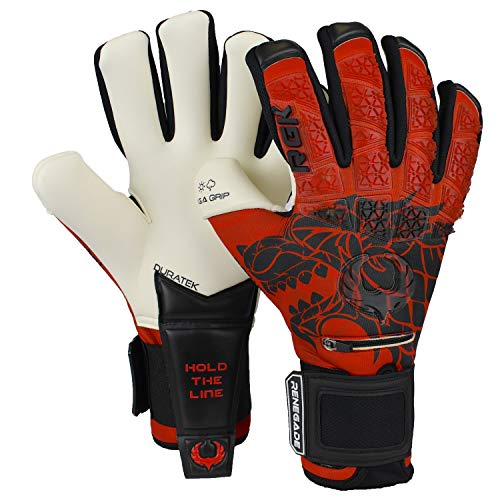 Renegade GK Limited Edition Rogue Hunter Goalie Gloves with Fingersaves | 4mm Giga Grip | Red & Black Goalkeeping Gloves (Size 9, Youth-Adult, Negative Cut, Level 4+)